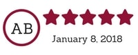 5 Star Facebook Review - Amy Luetke, January 2018